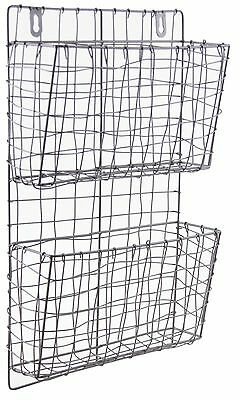 Dark Grey Wire Magazine Newspaper Rack Industrial Metal Wall Storage Baskets