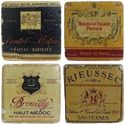 Set of 4 French Wine Label Coasters Ceramic Shabby Vintage Style Drinks Mats