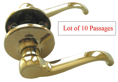 Lot of 10 Polished Brass Passage Lever Handle Door Lock for Hallway or Closet