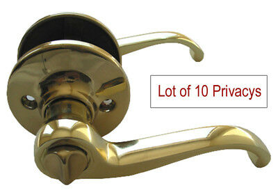Lot of 10 Polished Brass Privacy Lever Handle Door Locks for Bedroom or Bathroom