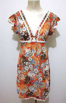 CULT VINTAGE '70 Abito Vestito Donna Flower Jersey Woman Dress Sz.S - 42