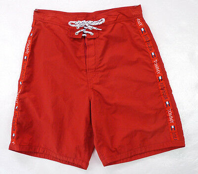 Vintage 90s Tommy Hilfiger Red Nylon Board Shorts Trunks Spellout Flag Logos S