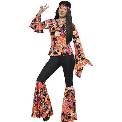 Adult Womens Willow the Hippie 60s 70s Hippy Fancy Dress Costume Outfit 45516