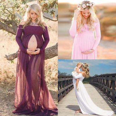 Women High Slit Maternity Dresses Gown Photography Props Pregnant Photo Shoot