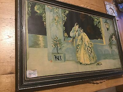 Original Framed Marygold Print A Tryst At Carnival Time 1920s Art Deco