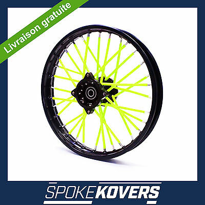 Couvres Rayons Jaune Fluo Motocross Mx Enduro Roue Jante Spoke Covers Skins Pit