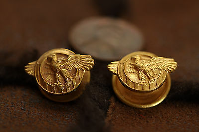 """Pair U.S. Military Honorable Discharge Eagle Lapel Button WWII """"Ruptured Duck"""""""