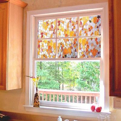 3D Static Cling Film Stained Glass Paper Frosted Decor Home Window Privacy New