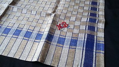 old german linen kitchen Towel / cloth with blue pattern and blue border