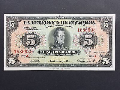 Colombia 5 Pesos Oro P341 Dated 22nd March 1938 aUncirculated aUNC