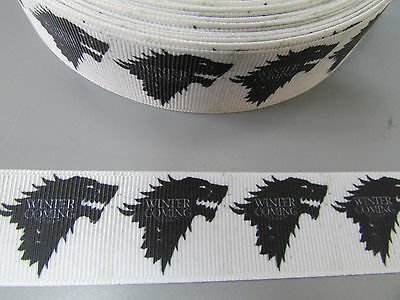 Game of Thrones Winter is Coming Grosgrain Ribbon 2.5cm    Sewing/Crafts/Cake