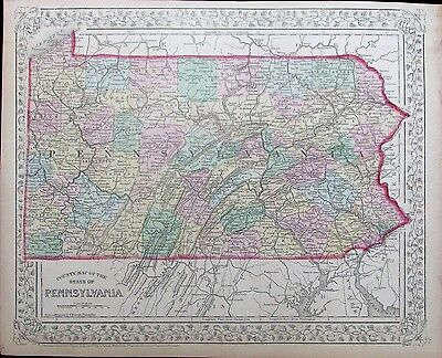 Pennsylvania Philadelphia Pittsburgh 1872 Mitchell antique folio color map