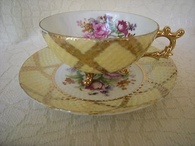 Beautiful Vintage Occupied Japan Gilt Lattice Yellow Footed Cup and Saucer