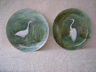 Vintage Set of Two Handpainted Porcelain Plates with Herons