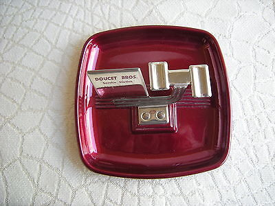 Vintage Advertising Metal Art Deco Red Service Station Ashtray Fahler Alberta