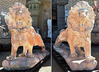 Fantastic Large Pair of Solid Hand Carved Marble Standing Lions