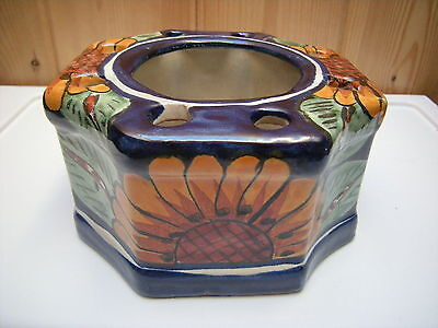 Colorful Handpainted Sunflowers Mexican Clay Flower Pot or Candleholder