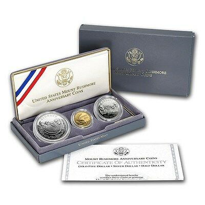 1991 Mt. Rushmore 3 Coin Gold and Silver  Set W/Box and COA