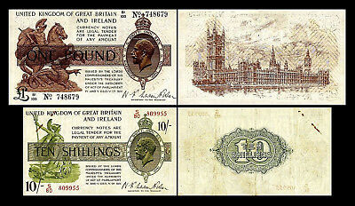 2x 10 Shillings + 1 Pound - Issue ND 1922 - 1923 George V - 4 Banknotes - 22