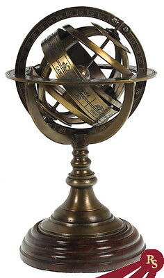 "ANTIQUE ARMILLARY SPHERE - Zodiac Globe - 9"" BRASS"
