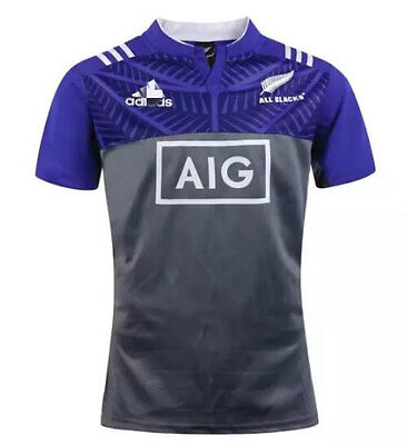 New Zealand 2016-17 blue All Blacks rugby jersey Shirt Tops Quality SIZE: S-3XL