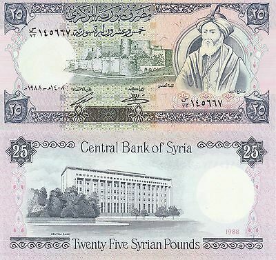 Syria 25 Pounds Banknote,1988,Uncirculated Condition Cat#102-D-0774