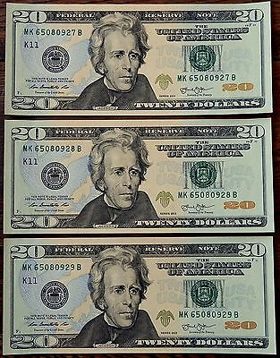 USA - 2013 Series - 3 x 20 $ SEQUENTIAL Banknotes - UNC