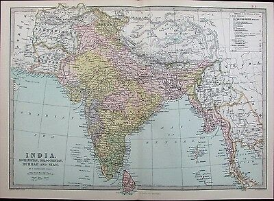 India Afghanistan Pakistan Burma Siam Tibet China 1882 antique map Zell color