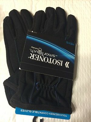 Men's Isotoner Gloves With Smart Touch Technology Large Black / Blue Stitching