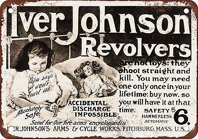 "7"" x 10"" Metal Sign - 1904 Iver Johnson Revolvers - Vintage Look Reproduction"