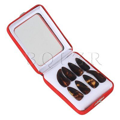 8piece Professional Plastic Large Size Gu Zheng Nails with Groove Brown Yellow