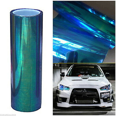 "12""*78"" Chameleon Colorful Blue Car SUV Headlight Taillight Vinyl Tint Film Wrap"