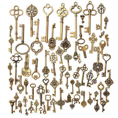 Set of 70 Antique Vintage Old Look Bronze Skeleton Keys Fancy Heart Bow PendantO