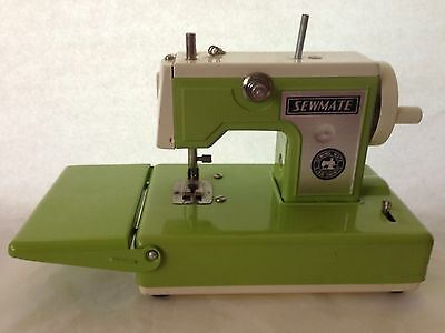 Vintage Sewmate Tin Sewing Machine Toy Lime Green Japan