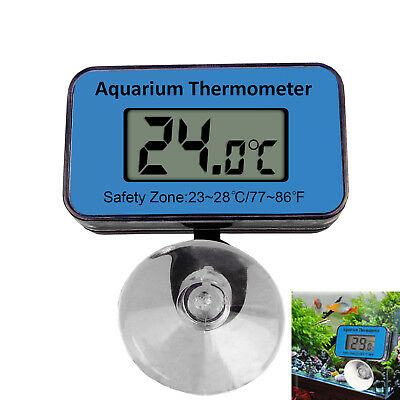 Waterproof Digital LCD Fish Aquarium Tank Water Thermometer Battery Power Sucker