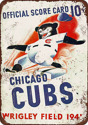 "7"" x 10"" Metal Sign - 1941 Chicago Cubs - Vintage Look Reproduction"