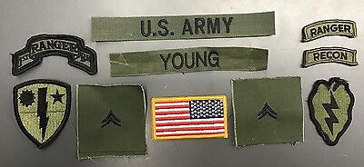 10 US ARMY patch Set BDU Woodland Uniform REFORGER CPL YOUNG Ranger Recon