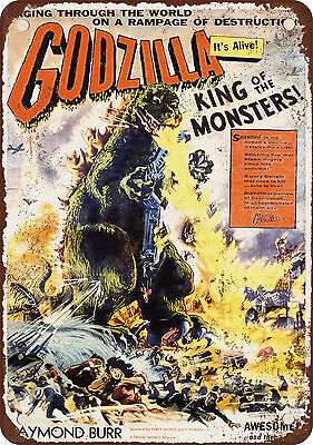 "7"" x 10"" Metal Sign - 1956 Godzilla Movie - Vintage Look Reproduction"