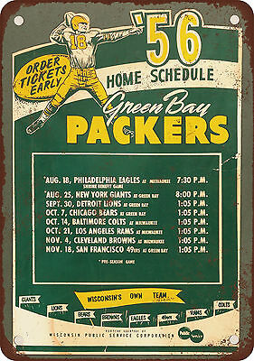 "7"" x 10"" Metal Sign - 1956 Green Bay Packers Home Schedule - Vintage Look Reprod"