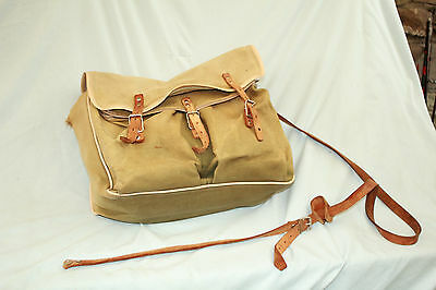 "14""  fishermans  canvas shoulder bag with leather straps removable liner"