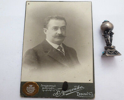 1900s Rare ARMENIAN SILVER Sealing Wax SEAL STAMP Monogrammed Stamper w/ a PHOTO