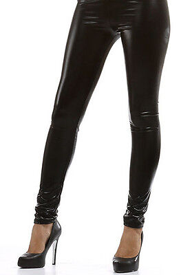 Sexy Leggins Hose Legging  Glanz Leder Optik Metallic Wet-Look SCHWARZ Gr 36-40