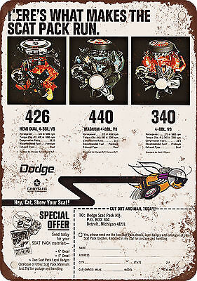 "7"" x 10"" Metal Sign - 1968 Dodge Scat Pack - Vintage Look Reproduction"