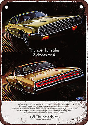 "7"" x 10"" Metal Sign - 1968 Ford Thunderbird - Vintage Look Reproduction"