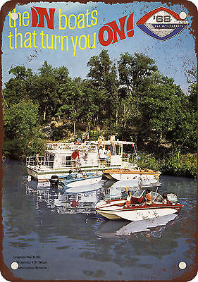 "7"" x 10"" Metal Sign - 1968 Glastron Boats - Vintage Look Reproduction"