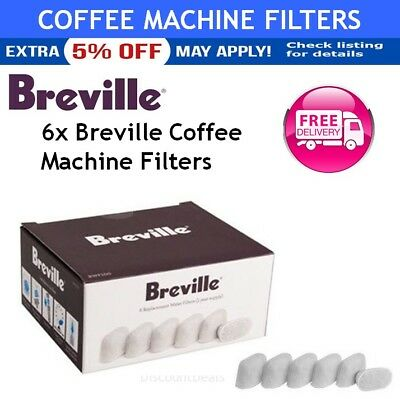 6x Breville Coffee Espresso Machine Replacement Water Filter Clean Barista Cafe
