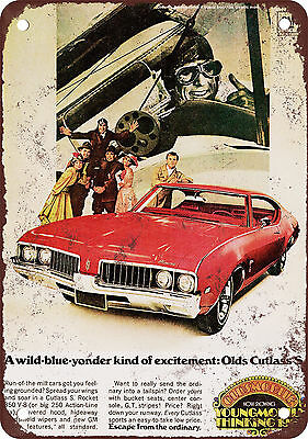 "7"" x 10"" Metal Sign - 1969 Oldsmobile Cutlass S - Vintage Look Reproduction"