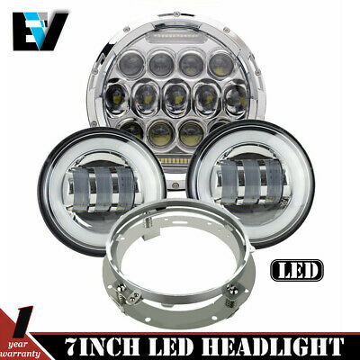 "7"" CREE LED Daymaker Style Headlight Passing Lights For Harley Davidson Touring"