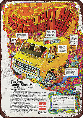"7"" x 10"" Metal Sign - 1976 Dodge Street Van - Vintage Look Reproduction"