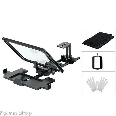 Compact Teleprompter with beam splitter glass & hood for iPhone Tablet Cameras